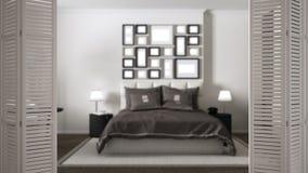 Ouverture blanche de porte de pliage sur la chambre à coucher grise moderne, conception intérieure blanche, concept de concepteur photo stock