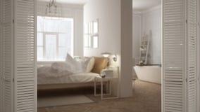 Ouverture blanche de porte de pliage sur la chambre à coucher scandinave moderne avec la salle de bains, conception intérieure bl photo stock