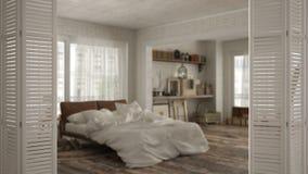 Ouverture blanche de porte de pliage sur la chambre à coucher de style ancien de vintage, conception intérieure blanche, concept  photos stock