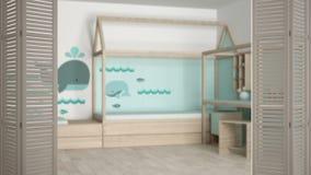 Ouverture blanche de porte de pliage sur la crèche scandinave moderne avec le lit, conception intérieure blanche, concept de conc photographie stock libre de droits