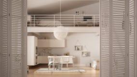 Ouverture blanche de porte de pliage sur la cuisine moderne avec la mezzanine, conception intérieure blanche, concept de concepte images libres de droits