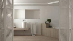 Ouverture blanche de porte de pliage sur la salle de bains en bois moderne, conception intérieure blanche, concept de concepteur  photos stock
