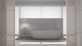 Ouverture blanche de porte de pliage sur la salle de bains minimaliste moderne avec la baignoire, conception intérieure blanche,  image stock