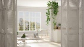 Ouverture blanche de porte de pliage sur le salon et la cuisine scandinaves modernes avec la grande fenêtre panoramique, concepti photos libres de droits