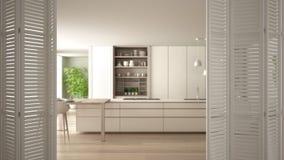 Ouverture blanche de porte se pliante sur la cuisine blanche moderne avec les d?tails et le plancher de parquet en bois, concepti illustration stock