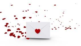 Ouverture d'enveloppe pour indiquer l'espace de copie avec des coeurs d'amour