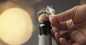 Ouverture d'une bouteille de Champagne banque de vidéos