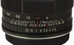 Ouverture de lentille et échelle de focalisation sur le blanc Image libre de droits