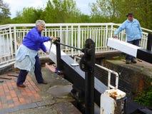 Ouverture des portes d'inondation Photo stock