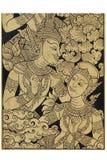 Ouvrage en bois d'or de la peinture traditionnelle d'art antique de l'homme et de la femme avec le costume, le mâle thaïlandais d Image libre de droits