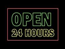 Ouvrez 24 heures en néon Photos stock
