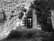 Ouvrez Frontdoor en bois sur la Chambre d'abandon avec l'mauvaise herbe sauvage Image libre de droits