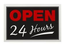 Ouvrez 24 heures Photographie stock libre de droits