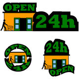 Ouvrez 24 heures Photos stock