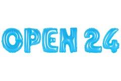 Ouvrez 24 heures, couleur bleue Photos libres de droits