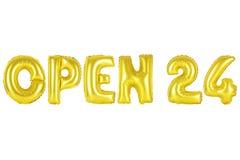 Ouvrez 24 heures, couleur d'or Images libres de droits