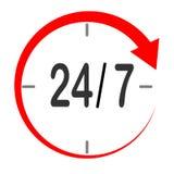 Ouvrez 24/7 icône de service sur le fond blanc Style plat custume illustration libre de droits