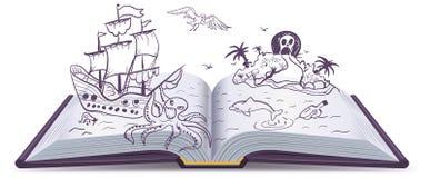 Ouvrez l'aventure de livre Trésors, pirates, bateaux de navigation, aventure Imagination de lecture illustration stock