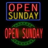 Ouvrez l'enseigne au néon de dimanche Images stock