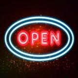 Ouvrez l'enseigne au néon pour l'accueil au concept de clients Images libres de droits