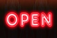 Ouvrez l'enseigne au néon pour l'accueil au concept de clients Photo libre de droits