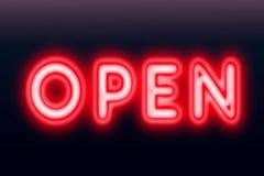 Ouvrez l'enseigne au néon pour l'accueil au concept de clients Image libre de droits