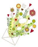 Ouvrez l'enveloppe avec des fleurs illustration de vecteur