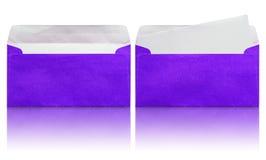 Ouvrez l'enveloppe bleue avec la lettre vide Photo libre de droits