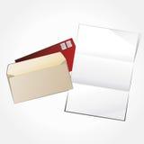Ouvrez l'enveloppe et la lettre vide. Images libres de droits