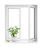 Ouvrez l'hublot en plastique avec le flowerpot sur le windowsill Image libre de droits