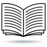 Ouvrez l'icône noire et blanche de livre illustration de vecteur