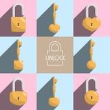 Ouvrez l'illustration de clé machine de serrure Illustration Libre de Droits