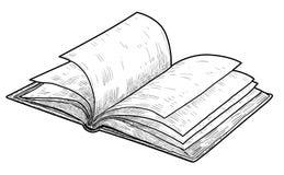 Ouvrez l'illustration de livre, dessin, gravure, encre, schéma, vecteur illustration de vecteur