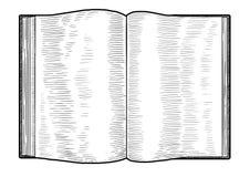 Ouvrez l'illustration de livre, dessin, gravure, encre, schéma, vecteur illustration stock