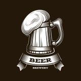 Ouvrez l'illustration de vecteur de logo de bière, conception de brasserie d'emblème sur le fond rouge Photo libre de droits