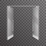 Ouvrez l'illustration intérieure en verre réaliste de vecteur d'élément de conception architecturale de portes à deux battants tr Photographie stock