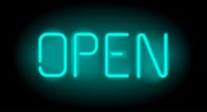 Ouvrez l'inscription au néon réaliste La lumière se connectent le fond noir Photos libres de droits