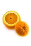 Ouvrez l'orange avec le bas d'isolement Photographie stock libre de droits