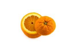 Ouvrez l'orange avec le bas d'isolement images stock