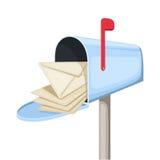Ouvrez la boîte aux lettres bleue avec des lettres. Dirigez l'illustratio illustration libre de droits