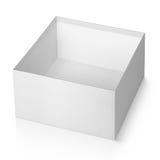 Ouvrez la boîte carrée blanche vide d'isolement sur le blanc Images libres de droits