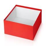 Ouvrez la boîte carrée rouge vide d'isolement sur le blanc Photographie stock libre de droits