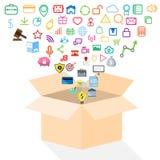 Ouvrez la boîte du concept d'icône d'application Images libres de droits