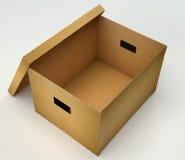 Ouvrez la boîte en carton Images stock
