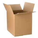 Ouvrez la boîte en carton Photos stock