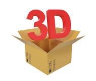 Ouvrez la boîte en carton avec le texte 3D au-dessus de la boîte Image stock