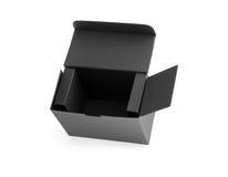 Ouvrez la boîte en carton noire Photo stock