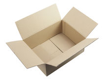 Ouvrez la boîte en carton ondulé Photographie stock