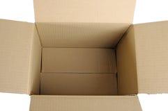 Ouvrez la boîte en carton ondulé Images libres de droits