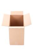 Ouvrez la boîte en carton ondulé brune au-dessus du blanc Images stock